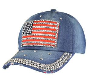 USA flag distressed rhinestone denim cap