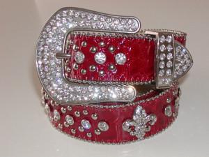 Rhinestone studded belt-red