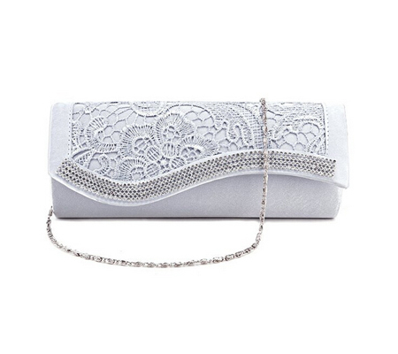 Floral Lace Satin Crystal Diamantes Evening Clutch Bag Wedding Purse ... 061d12a983aba