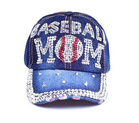 Denim Rhinestone Bling Sports Mom Baseball Cap Hat 034e7a889071