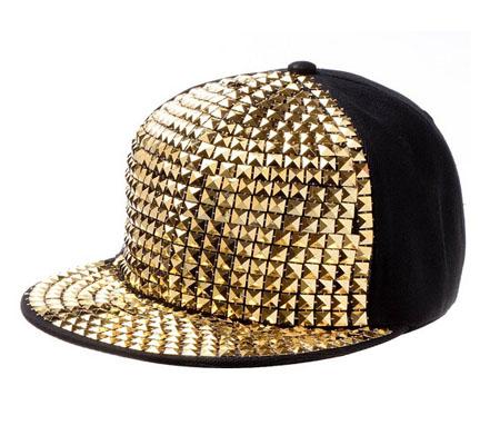 6146be1c0d7a Pyramid Plastic Studs Bling Flat Hip Hop Cap